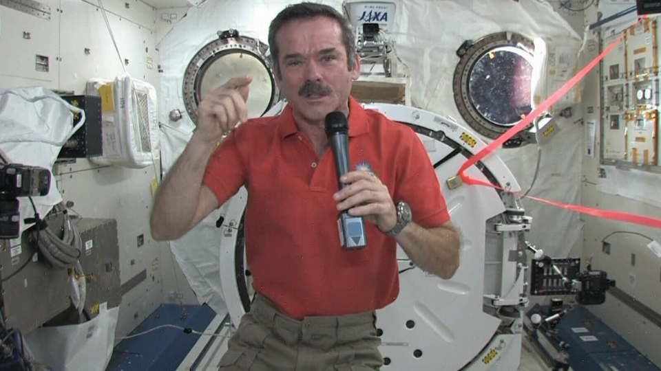Canadian astronaut Chris Hadfield speaks with William Shatner from the International Space Station, Thursday, Feb. 7, 2013.