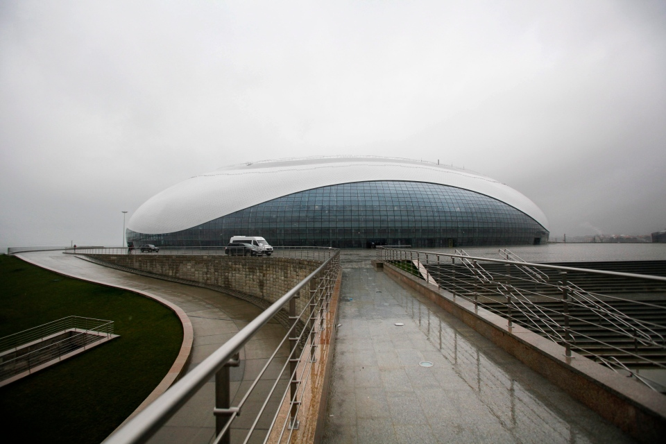 In this photo dated Wednesday, Jan. 30, 2013, the outside view of the Bolshoy ice dome, main ice hockey arena, at the Russian Black Sea resort of Sochi. (AP Photo/Igor Yakunin)