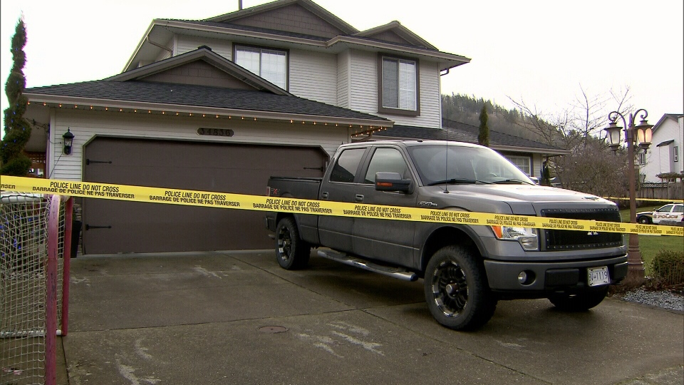 Abbotsford police probe a homicide on Cassiar Court on Feb. 7, 2013.