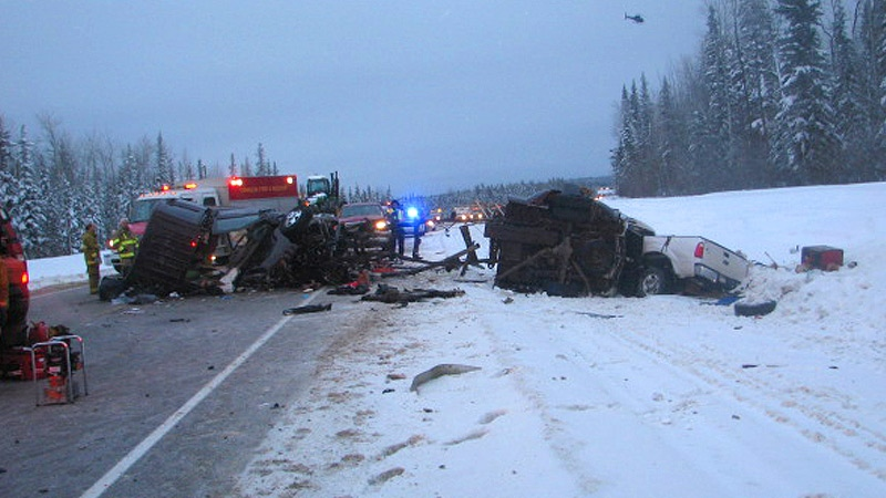 RCMP released this photo of a fatal collision on Hwy. 881, Wednesday, Feb. 6. Supplied.