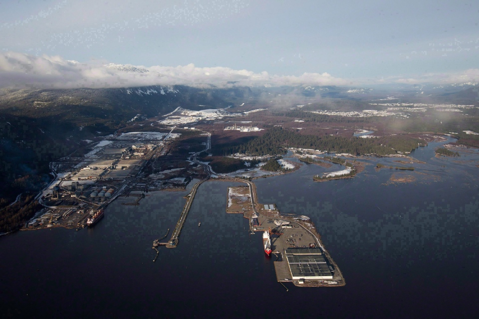 Douglas Channel in northern B.C. is pictured in an aerial view in Kitimat, B.C., on Jan. 10, 2012. (Darryl Dyck / THE CANADIAN PRESS)