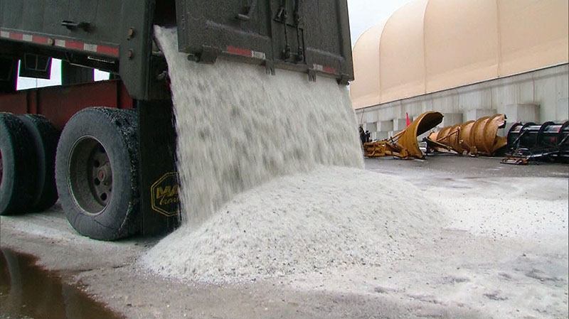 Snow crews prepare for a major storm system, stockpiling salt in Toronto on Thursday, Feb. 7, 2013.