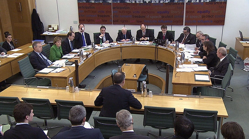 Mark Carney faces a the U.K. Treasury Select committee in London, Thursday, Feb. 7, 2013.