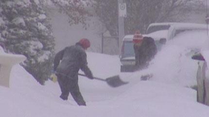 snow, storm, winter, shovelling