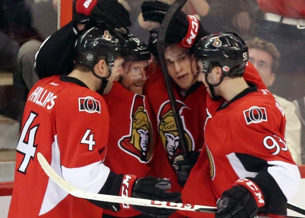 Ottawa Senators players celebrate on Feb. 7, 2013.