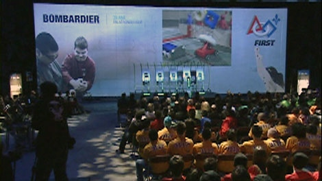 300 Quebec high school students received kits for a robot-building contest at Bombardier on Saturday. (CTV News)