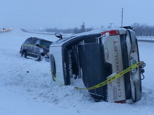 Vehicles in the ditch