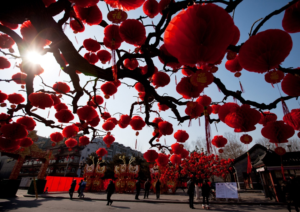 Visitors stroll near the trees decorated with red lanterns ahead of Chinese New Year celebrations at Ditan Park in Beijing, Friday, Feb. 8, 2013. (AP / Andy Wong)