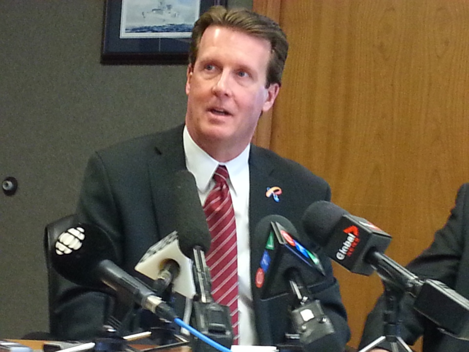 Regina Mayor Michael Fougere speaks during a news conference Friday at city hall.