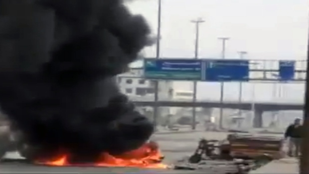 Fire on a main highway in Damascus, Syria.