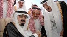 This photo released by the Saudi Press Agency, shows Saudi King Abdullah bin Abd al Aziz, left, speaking with Prince Salman bin Abdel Aziz, the Saudi King's brother and Riyadh Governor, right, in Riyadh, Saudi Arabia on Monday, Nov. 22, 2010.