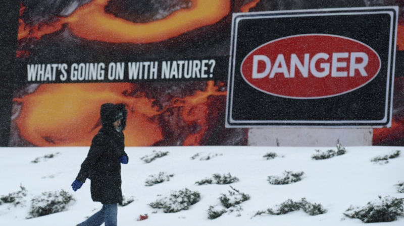 A woman walks along a sidewalk in Ottawa Friday, Feb. 8, 2013. The city was forecast to receive 15-25cm of snow. (THE CANADIAN PRESS)