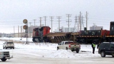 A CN train car derailed near the Jubilee Overpass