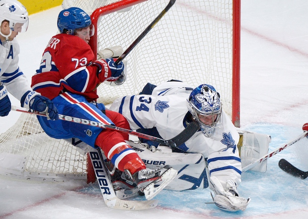 Maple Leafs' James Reimer makes a save