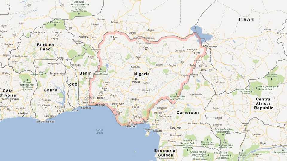 Nigeria is seen in this Google map.