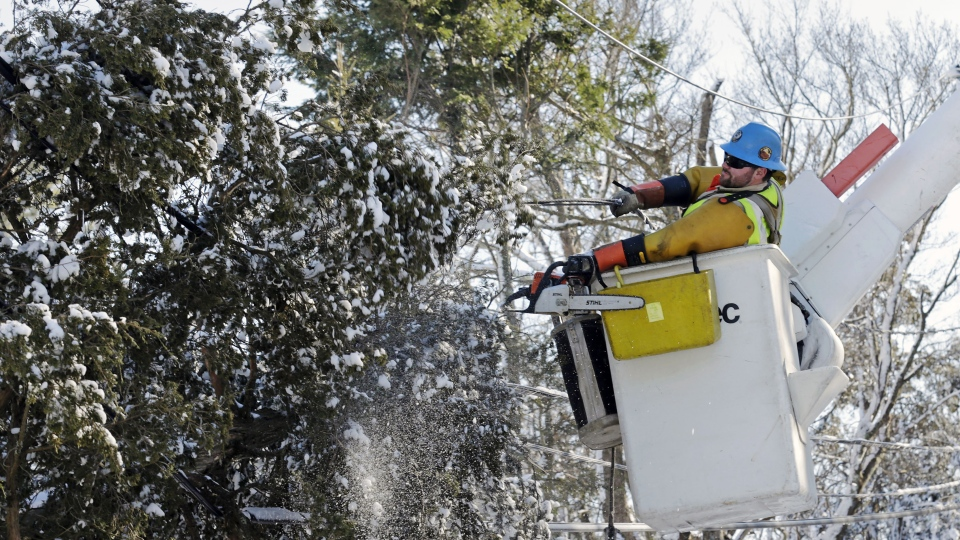 Andrew Varney, a power lineman from Canton, NY, frees a pine tree stuck in lines in Scituate, Mass., Sunday, Feb. 10, 2013. (AP Photo / Charles Krupa)