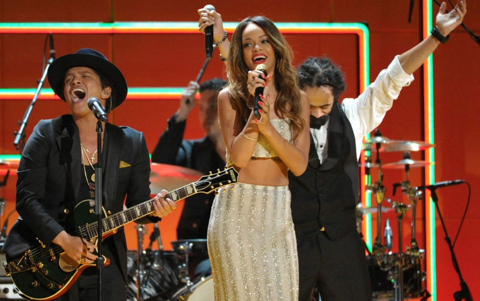 Recording artists Bruno Mars, left, and Rihanna perform a tribute to Bob Marley at the 55th annual Grammy Awards in Los Angeles on Sunday, Feb. 10, 2013. (AP / John Shearer)