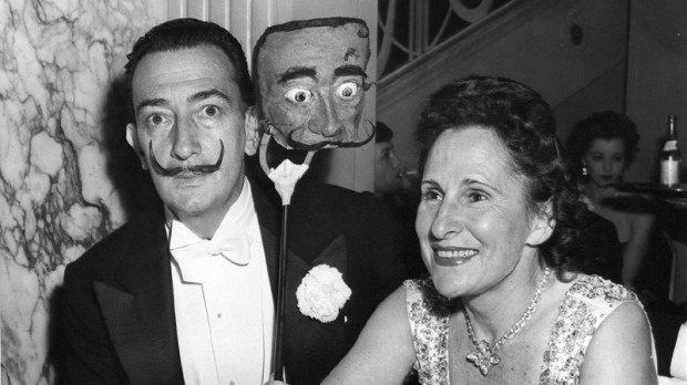 Salvador Dali and his wife are seen in this photo taken in New York on December 13, 1952. (The Associated Press)
