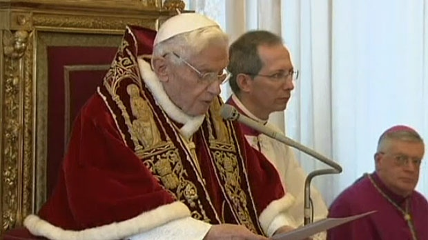 Pope Benedict XVI reads his resignation at a meeting of Vatican cardinals in Vatican City.