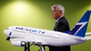 Gregg Saretsky, president and CEO of Westjet, addresses the company's annual meeting in Calgary, Tuesday, May 1, 2012. (Jeff McIntosh / THE CANADIAN PRESS)