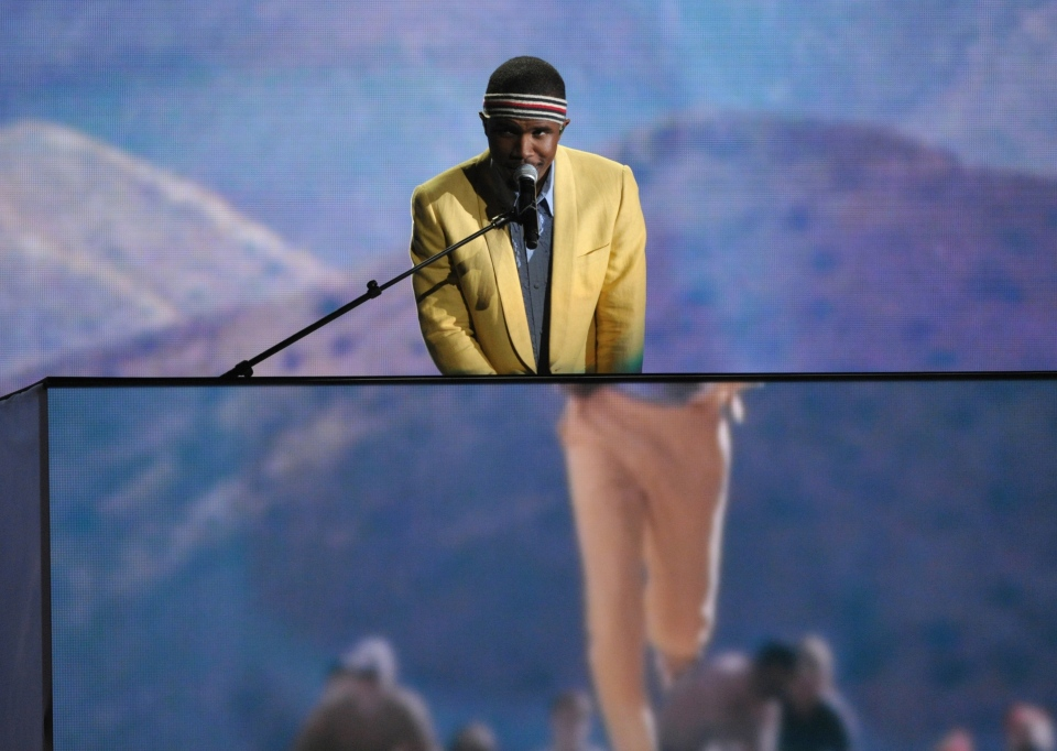 Frank Ocean performs on stage at the 55th annual Grammy Awards in Los Angeles on Sunday, Feb. 10, 2013. (AP / John Shearer / Invision)