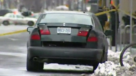 The car deemed suspicious by officials is seen on 277 Front St. W, Tuesday, Jan. 11, 2011.