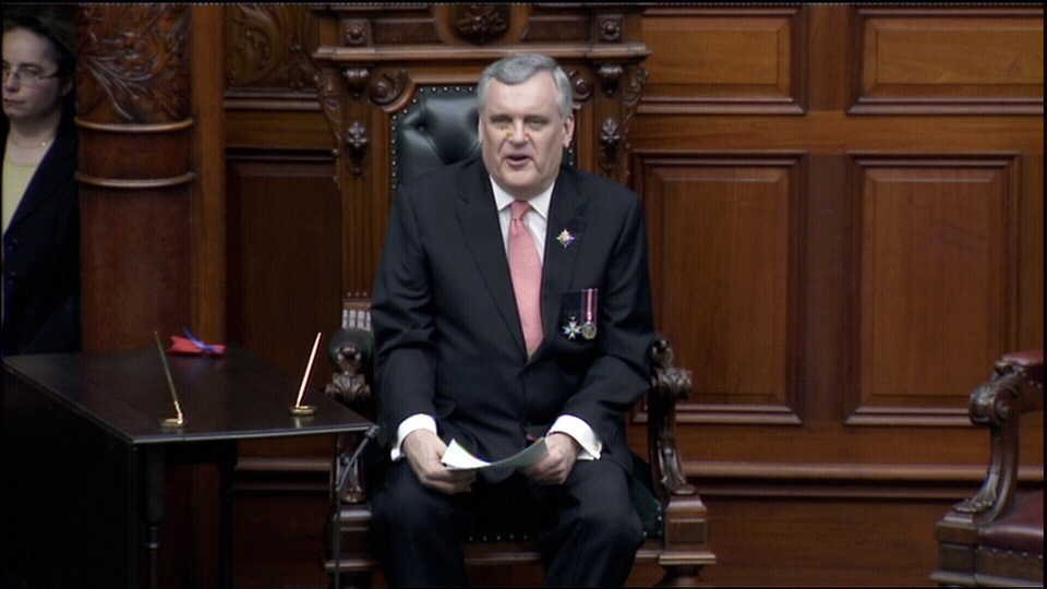 Ontario Lt.-Gov. David Onley speaks during the swearing in of Kathleen Wynne as the new premier of Ontario at Queen's Park in Toronto, Monday, Feb. 11, 2013.