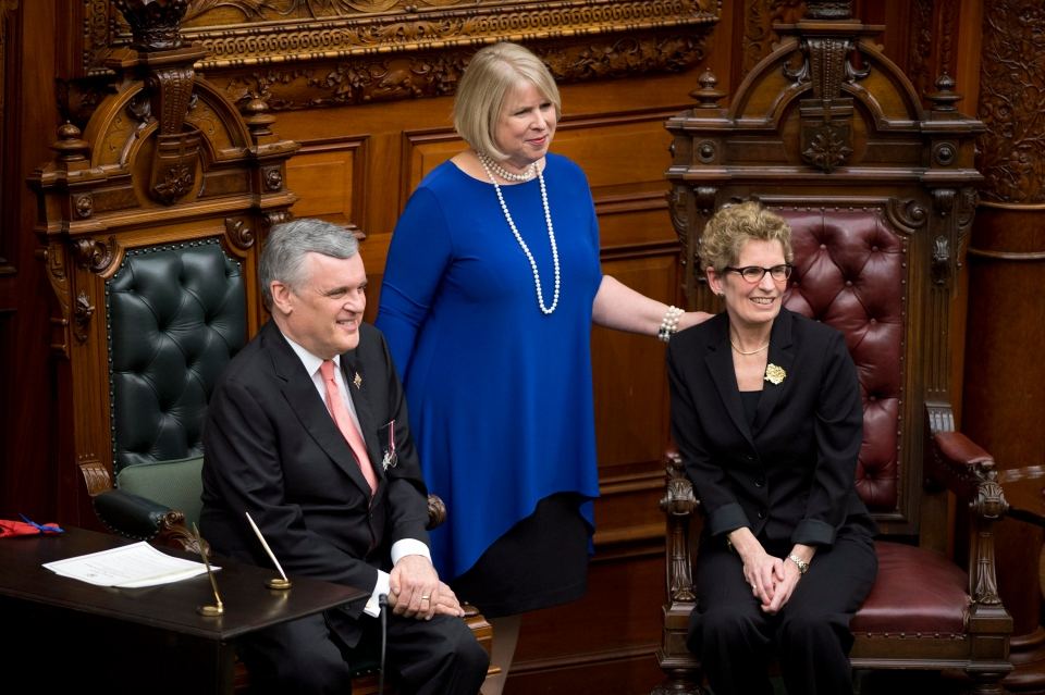 Ontario Lt.-Gov. David Onley and Premier Kathleen Wynne pose with Health Minister and Deputy Premier Deb Matthews at a swearing-in ceremony at Queen's Park in Toronto on Monday, Feb. 11, 2013. (Frank Gunn / THE CANADIAN PRESS)