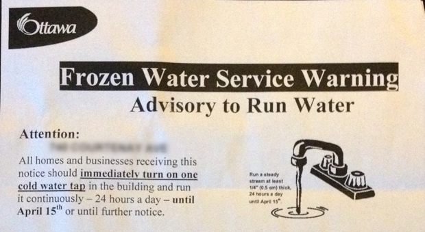 City urges 500 homeowners to run water 24/7