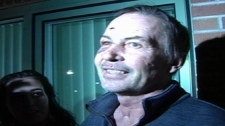 Buddy Tavares speaks to reporters after being released from jail in Kelowna, B.C. on Jan. 10, 2011. (CTV)