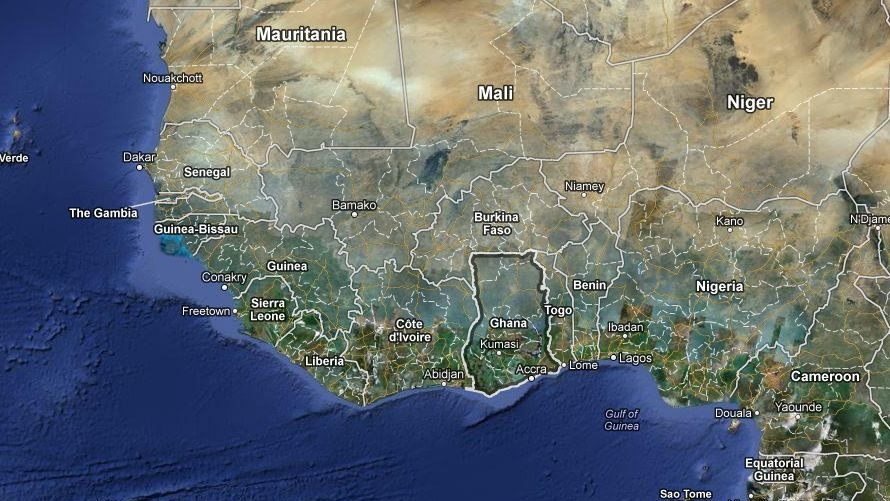 A Google map of Ghana is shown. (Screengrab/Google Maps)