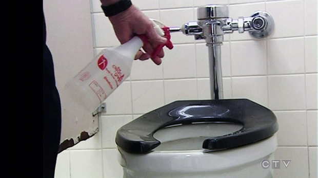 A Toilet Seat Is Disinfected At An Ottawa Public School In This Image Taken From Video On Tuesday February 12 2013