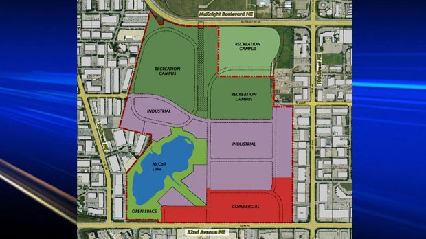 City of Calgary concept map of the future land use of what is currently McCall Lake Golf Course (courtesy City of Calgary)