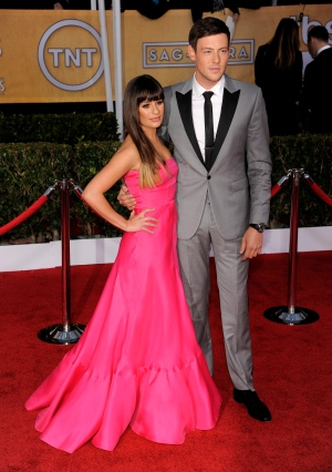 Lea Michele, left, and Cory Monteith arrive at the 19th Annual Screen Actors Guild Awards at the Shrine Auditorium in Los Angeles on Sunday Jan. 27, 2013. (Chris Pizzello / Invision)
