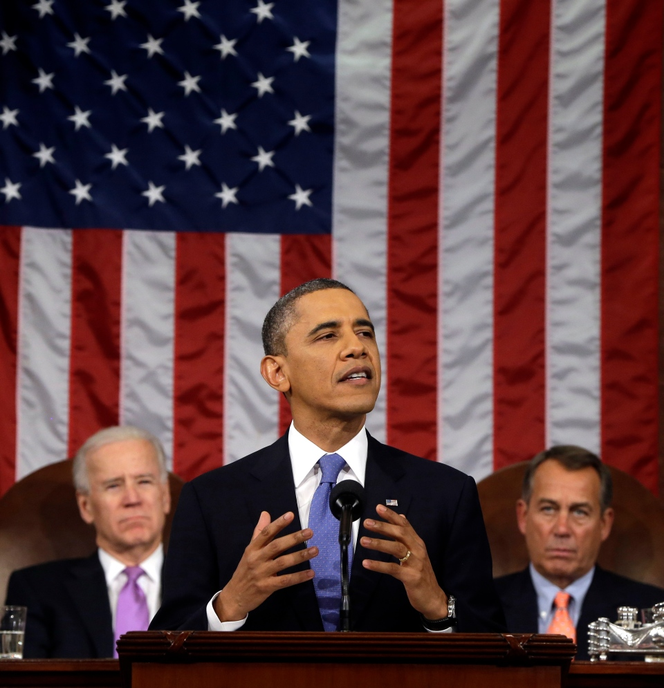 U.S. President Barack Obama, flanked by Vice President Joe Biden and House Speaker John Boehner of Ohio, gives his state of the union address during a joint session of Congress on Capitol Hill in Washington on Tuesday Feb. 12, 2013. (AP / Charles Dharapak)