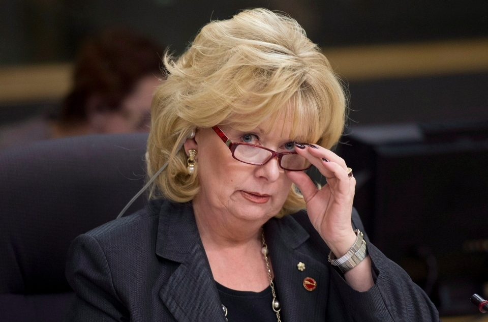 Senator Pamela Wallin adjusts her glasses at the start of a meeting Monday, Feb. 11, 2013 in Ottawa. (Adrian Wyld / THE CANADIAN PRESS)