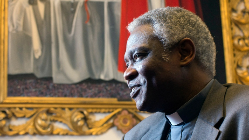 Ghanaian Cardinal Peter Kodwo Appiah Turkson talks to the Associated Press during an interview, in Rome, Tuesday, Feb. 12, 2013. (AP Photo / Domenico Stinellis)