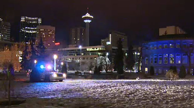 A man is in hospital in serious condition after he was stabbed early Wednesday morning in Calgary's Central Memorial Park.