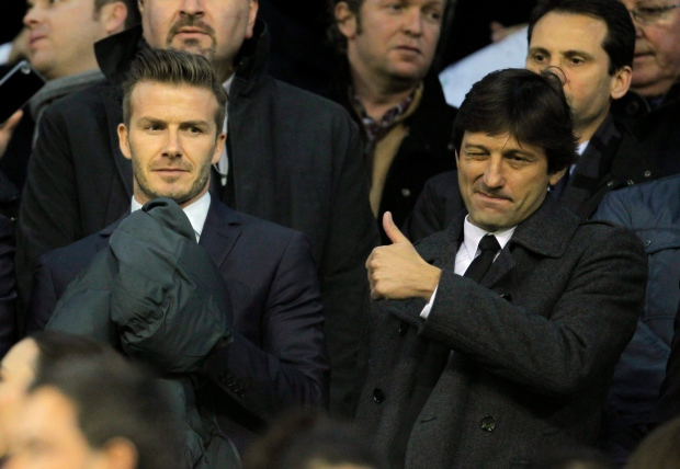 David Beckham, left, on Feb. 12, 2013.