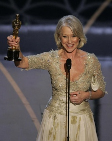 British actress Helen Mirren accepts the Oscar for best actress for her work in 'The Queen' the 79th Academy Awards Sunday, Feb. 25, 2007, in Los Angeles. (AP / Mark J. Terrill)