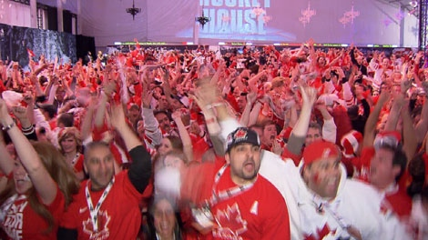 Vancouverites celebrate during the 2010 Olympic Games. (CTV)