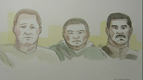 The three men accused of arson at the Loreto Funeral home, seen here in a courtroom sketch.