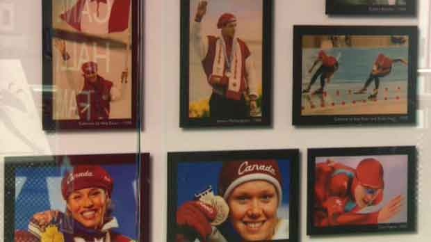 Photos mounted in displays in the Olympic Oval are a tribute to Calgary's Olympic legacy.