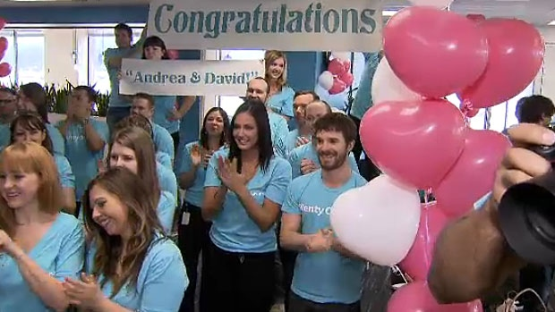 David Mazur and Andrea Ellis were surprised by Plenty of Fish staff on Wednesday, when they found out they had won the $100,000 dream wedding contest.