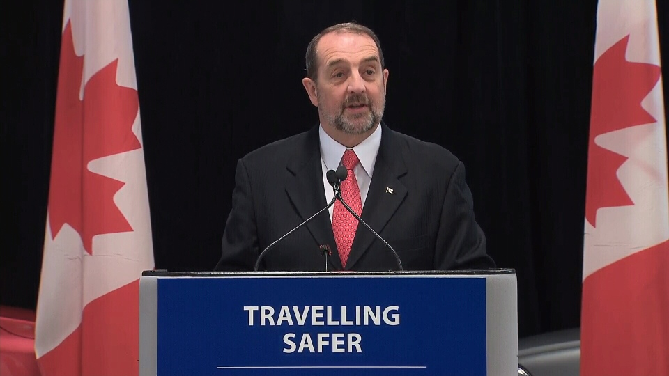 Transport Minister Denis Lebel speaks a press conference in Gatineau, Que., on Feb. 14, 2013.