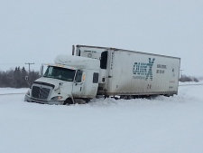 semi in ditch