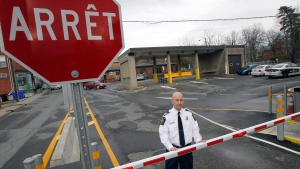 Miguel Begin, the chief of operations for the Canada Border Services Agency's Stanstead sector, stands at the Canadian port of entry in Stanstead, Que., Nov. 14, 2012. (AP / Toby Talbot)