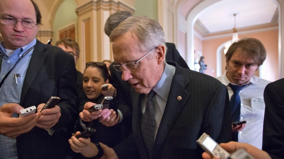 U.S. Senate Majority Leader Harry Reid of Nev. makes his way to the Senate floor on Capitol Hill in Washington, Thursday, Feb. 14, 2013. (AP / J. Scott Applewhite)