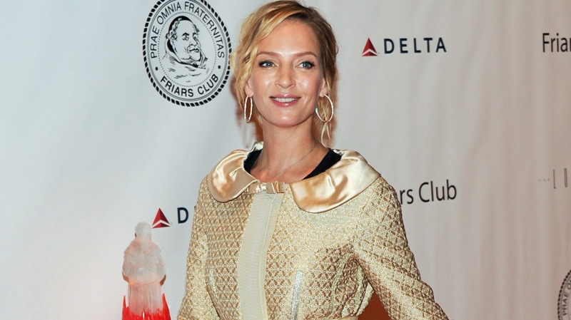 Uma Thurman attends the Quentin Tarantino Friars Club Roast at the New York Hilton Hotel on Wednesday, Dec. 1, 2010 in New York. (AP / Evan Agostini)