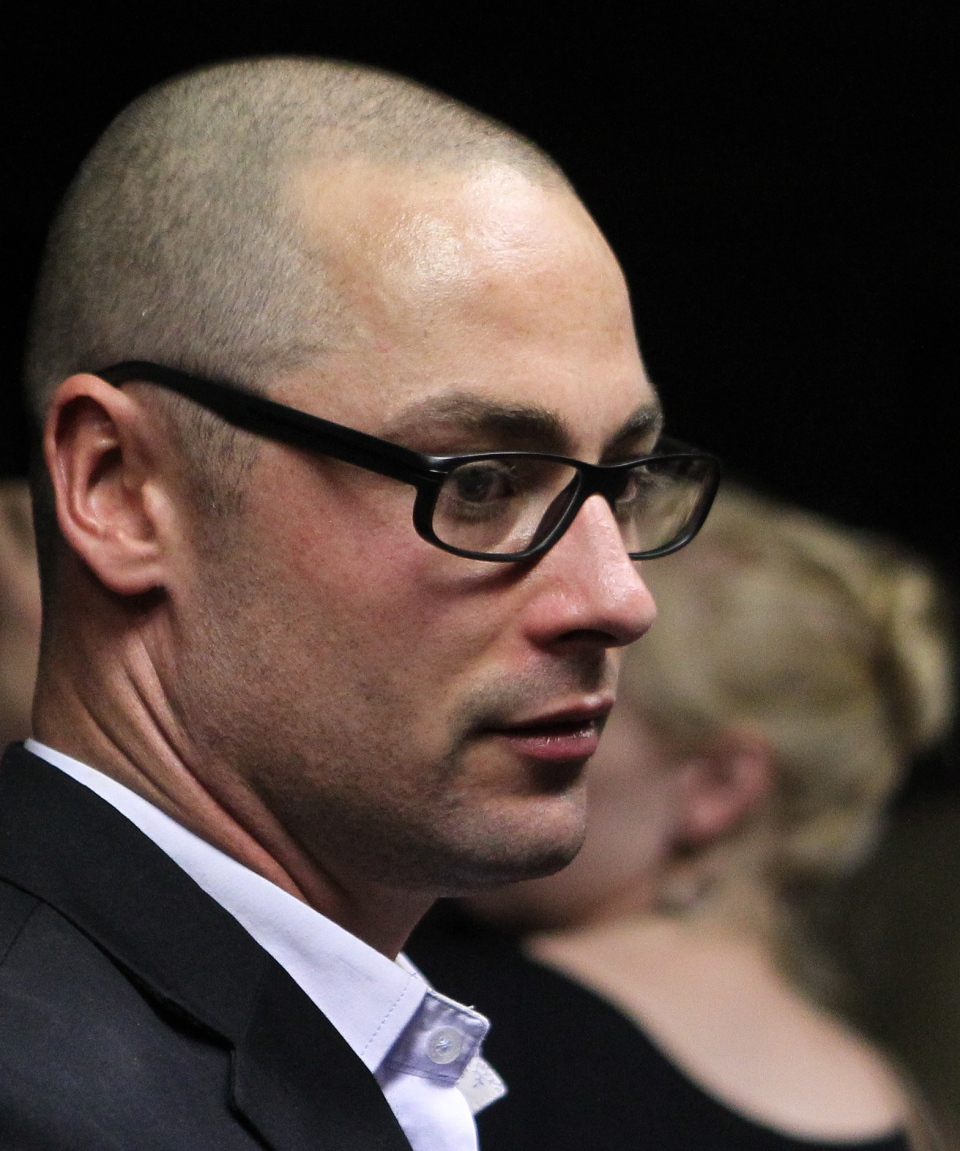 Olympic athlete Oscar Pistorius's brother Carl Pistorius looks on after his bail application appearance at the magistrate court in Pretoria, South Africa, Friday, Feb. 15, 2013. (AP / Themba Hadebe)